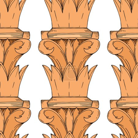 Illustration for Vector Antique greek columns. Black and white engraved ink art. Seamless background pattern. Fabric wallpaper print texture on white background. - Royalty Free Image