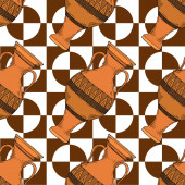 Vector Antique greek amphoras Black and white engraved ink art Seamless background pattern