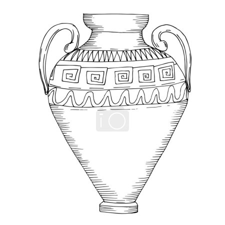Illustration for Vector Antique greek amphoras. Black and white engraved ink art. Isolated ancient illustration element on white background. - Royalty Free Image