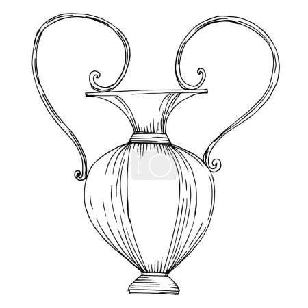 Vector Antique greek amphoras. Black and white engraved ink art. Isolated ancient illustration element.