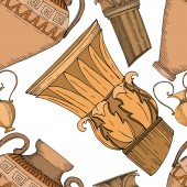 Vector Antique greek amphoras and columns Black and white engraved ink art Seamless background pattern