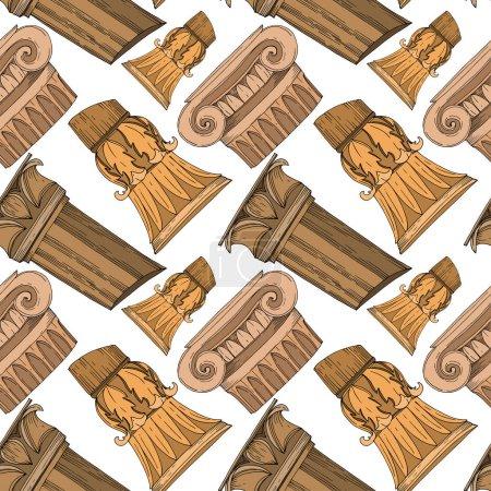 Ilustración de Columnas griegas antiguas de vectores. Arte de tinta grabada en blanco y negro. Modelo de fondo sin costuras. Fabric wallpaper imprime textura sobre fondo blanco. - Imagen libre de derechos