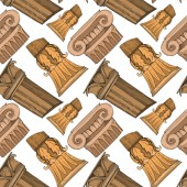 Vector Antique greek columns Black and white engraved ink art Seamless background pattern