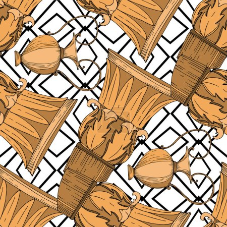 Illustration for Vector Antique greek amphoras and columns. Black and white engraved ink art. Seamless background pattern. Fabric wallpaper print texture on white background. - Royalty Free Image