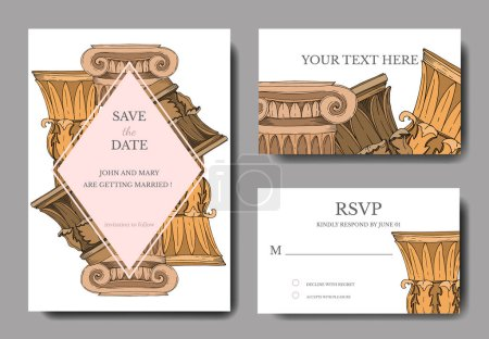 Illustration for Vector Antique greek columns. Black and white engraved ink art. Wedding background card decorative border. Thank you, rsvp, invitation elegant card illustration graphic set banner. - Royalty Free Image