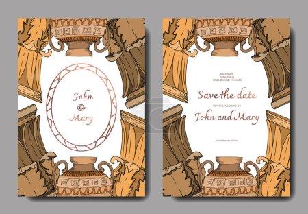 Illustration for Vector Antique greek amphoras and columns. Black and white engraved ink art. Wedding background card decorative border. Thank you, rsvp, invitation elegant card illustration graphic set banner. - Royalty Free Image