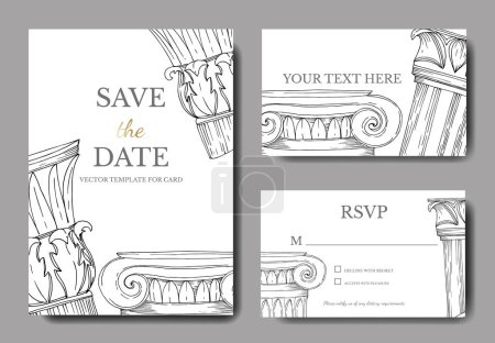 Illustration pour Vector Antique greek columns. Black and white engraved ink art. Wedding background card decorative border. Thank you, rsvp, invitation elegant card illustration graphic set banner. - image libre de droit