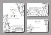 "Постер, картина, фотообои ""Vector Antique greek columns. Black and white engraved ink art. Wedding background card decorative border."""