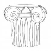 "Постер, картина, фотообои ""Vector Antique greek columns. Black and white engraved ink art. Isolated ancient illustration element."""