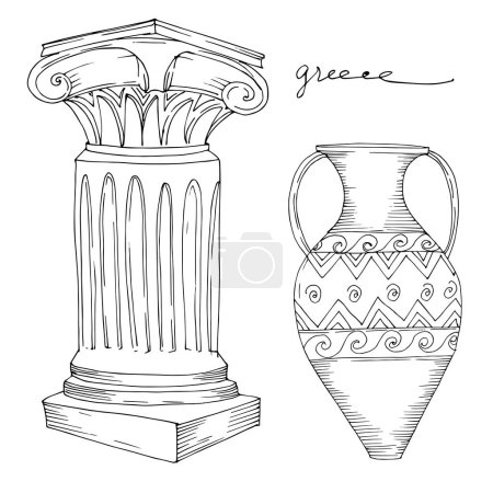 Vector Antique greek amphoras and columns. Black and white engraved ink art. Isolated ancient illustration element.