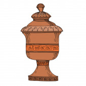 "Постер, картина, фотообои ""Vector Antique greek amphoras. Black and white engraved ink art. Isolated ancient illustration element."""