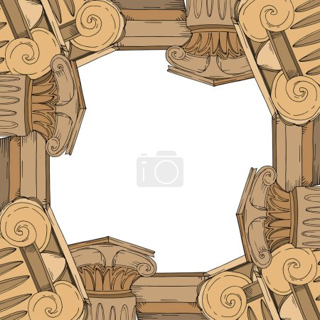 Illustration for Vector Antique greek amphoras and columns. Black and white engraved ink art. Frame border ornament square on white background. - Royalty Free Image