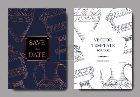Illustration for Vector Antique greek amphoras. Black and white engraved ink art. Wedding background card decorative border. Thank you, rsvp, invitation elegant card illustration graphic set banner. - Royalty Free Image