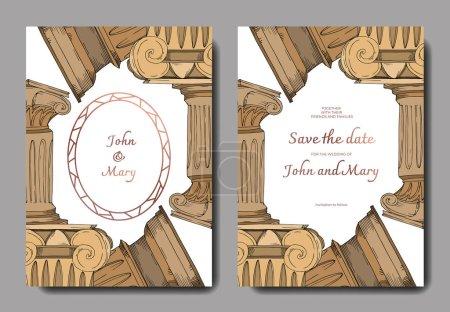 Vector Antique greek columns element. Black and white engraved ink art. Wedding background card.