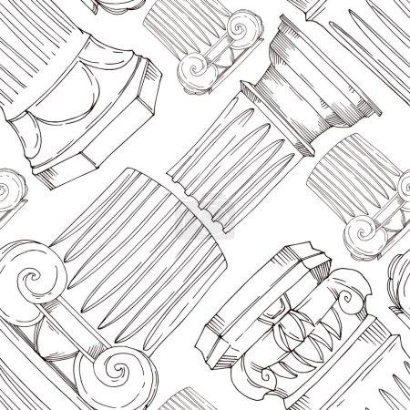 Illustration pour Vecteur Colonnes grecques antiques. Encre gravée en noir et blanc. Modèle de fond sans couture. Texture d'impression papier peint tissu sur fond blanc . - image libre de droit
