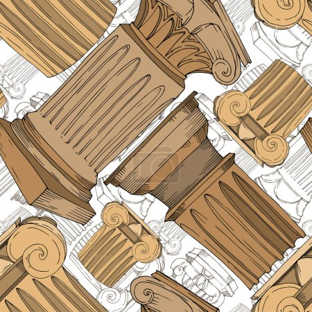 Vector Antique greek columns. Black and white engraved ink art. Seamless background pattern.