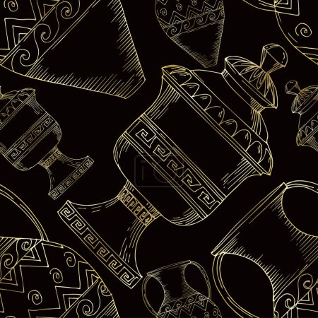 Illustration for Vector Antique greek amphoras. Black and white engraved ink art. Seamless background pattern. Fabric wallpaper print texture on white background. - Royalty Free Image