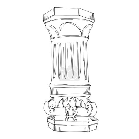Illustration for Vector Antique greek columns. Black and white engraved ink art. Isolated ancient illustration element on white background. - Royalty Free Image