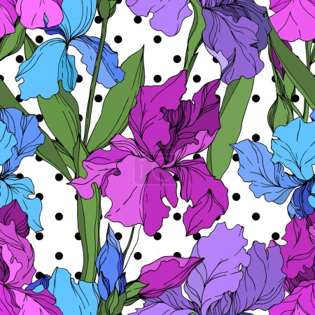 Illustration for Vector Iris floral botanical flowers. Wild spring leaf wildflower isolated. Black and white engraved ink art. Seamless background pattern. Fabric wallpaper print texture. - Royalty Free Image