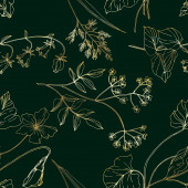 Vector Wildflowers floral botanical flowers Black and white engraved ink art Seamless background pattern