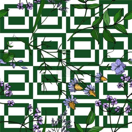 Illustration pour Vecteur Fleurs sauvages fleurs botaniques florales. Feuille sauvage de printemps fleur sauvage isolée. Encre gravée en noir et blanc. Modèle de fond sans couture. Texture d'impression papier peint tissu . - image libre de droit