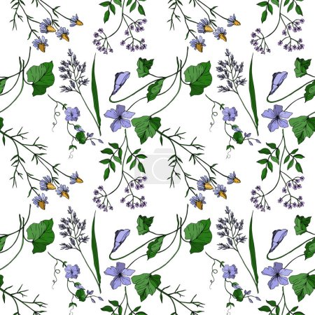 Illustration for Vector Wildflowers floral botanical flowers. Wild spring leaf wildflower isolated. Black and white engraved ink art. Seamless background pattern. Fabric wallpaper print texture. - Royalty Free Image