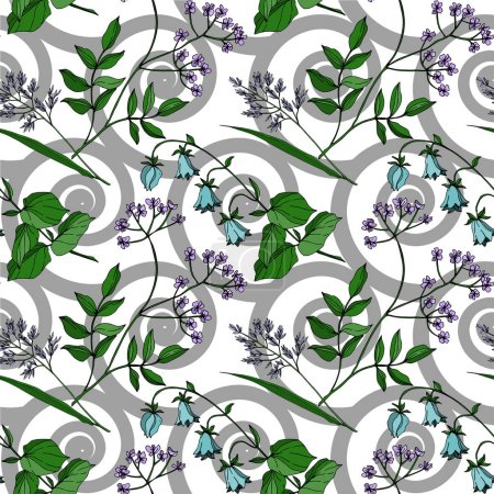 Illustration pour Vector Fleurs florales botaniques. Isolement de fleurs sauvages printanières. Encre noire et blanche gravée. Schéma de fond homogène. Texture des papiers peints en tissu. - image libre de droit
