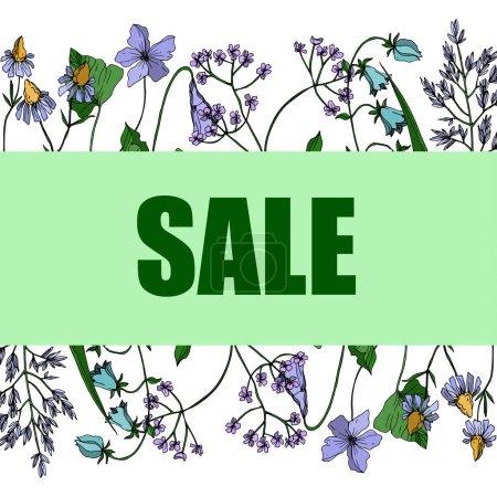 Ilustración de Vector Wildflowers floral botanical flowers. Wild spring leaf wildflower isolated. Black and white engraved ink art. Frame border ornament square on white background. - Imagen libre de derechos