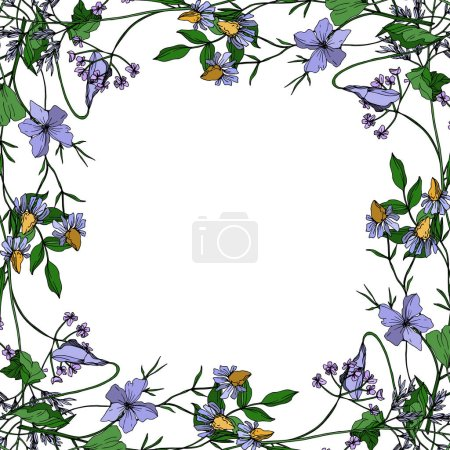 Illustration for Vector Wildflowers floral botanical flowers. Wild spring leaf wildflower isolated. Black and white engraved ink art. Frame border ornament square on white background. - Royalty Free Image