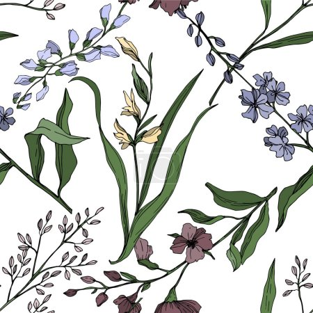 Illustration for Vector Wildflower floral botanical flowers. Wild spring leaf wildflower isolated. Black and white engraved ink art. Seamless background pattern. Fabric wallpaper print texture. - Royalty Free Image
