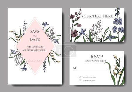 Illustration for Vector Wildflower floral botanical flowers. Black and white engraved ink art. Wedding background card decorative border. Thank you, rsvp, invitation elegant card illustration graphic set banner. - Royalty Free Image