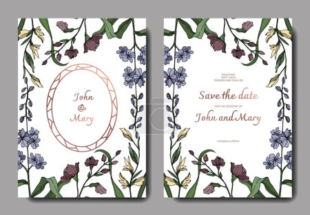 Illustration for Vector Wildflower floral botanical flowers. Black and white engraved ink art. Wedding background card decorative border. Thank you, rsvp, invitation elegant card illustration graphic set banner. - Royalty Free Image