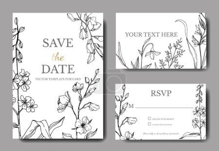 Vector Wildflower floral botanical flowers. Black and white engraved ink art. Wedding background card decorative border.