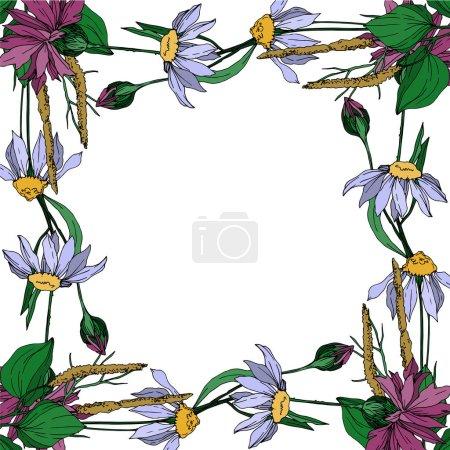 Illustration pour Vecteur Fleurs sauvages fleurs botaniques florales. Feuille sauvage de printemps fleur sauvage isolée. Encre gravée en noir et blanc. Cadre bordure ornement carré sur fond blanc . - image libre de droit