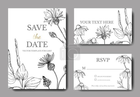 Illustration pour Vector wildflowers floral botanical flowers. Black and white engraved ink art. Wedding background card decorative border. Thank you, rsvp, invitation elegant card illustration graphic set banner. - image libre de droit