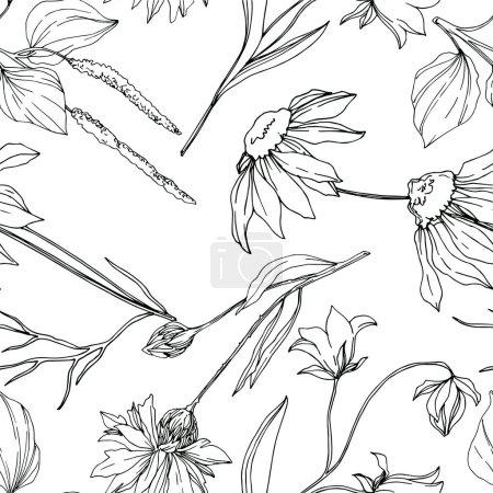 Ilustración de Vector flores silvestres florales botánicas. Flora silvestre de manantial silvestre aislada. Arte de tinta grabada en blanco y negro. Modelo de fondo sin costuras. Fabric wallpaper imprime textura. - Imagen libre de derechos