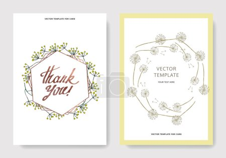 Illustration for Vector Wildflowers floral botanical flowers. Black and white engraved ink art. Wedding background card decorative border. Thank you, rsvp, invitation elegant card illustration graphic set banner. - Royalty Free Image