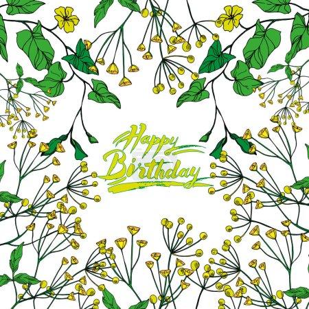 Illustration pour Vector Fleurs florales botaniques. Isolement de fleurs sauvages printanières. Encre noire et blanche gravée. Cadre ornement de bordure carré sur fond blanc. - image libre de droit