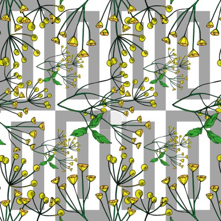 Illustration pour Vector Wildflowers floral botanical flowers. Wild spring leaf wildflower isolated. Black and white engraved ink art. Seamless background pattern. Fabric wallpaper print texture. - image libre de droit
