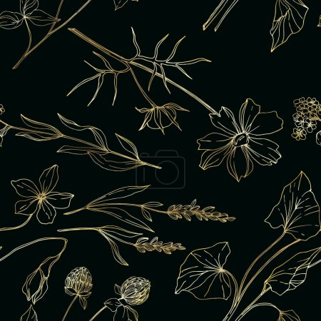 Ilustración de Vector flores florales botánicas silvestres. Flora silvestre de manantial silvestre aislada. Arte de tinta grabada en blanco y negro. Modelo de fondo sin costuras. Fabric wallpaper imprime textura. - Imagen libre de derechos