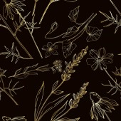 Vector wildflower floral botanical flowers Black and white engraved ink art Seamless background pattern