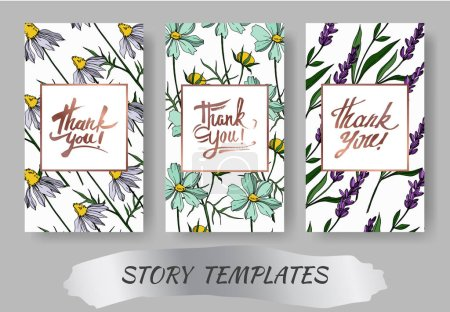 Illustration for Vector wildflower floral botanical flowers. Engraved ink art. Wedding background card floral decorative border. Thank you, rsvp, invitation elegant card illustration graphic set banner. - Royalty Free Image