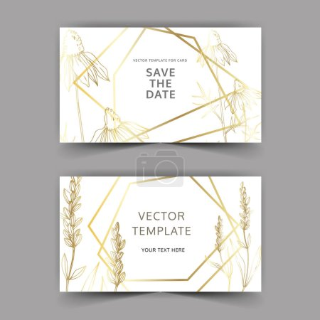 Illustration for Vector wildflower floral botanical flowers. Engraved ink art. Wedding background card floral decorative border. Thank you, rsvp, invitation elegant card illustration graphic set banner. - Royalty Free Image