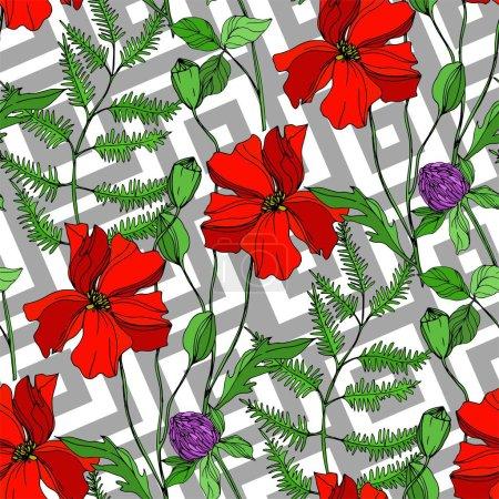 Vektorwildblumen florale botanische Blumen. Schwarz-weiß gestochene Tuschekunst. nahtloses Hintergrundmuster.