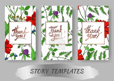 Illustration for Vector Wildflowers floral botanical flowers. Black and white engraved ink art. Wedding background card decorative border. Thank you, rsvp, invitation elegant card illustration graphic set banner. - Royalty Free Image