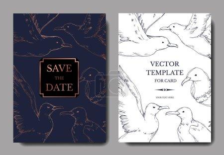 Illustration for Vector Sky bird seagull isolated. Black and white engraved ink art. Wedding background card decorative border. Thank you, rsvp, invitation elegant card illustration graphic set banner. - Royalty Free Image