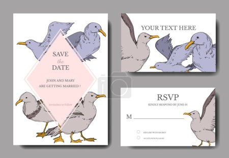 Illustration for Vector Sky bird seagull isolated. Black and white engraved ink art. Wedding background card decorative border. Thank you, rsvp, invitation elegant card illustration graphic set banner. - Royalty Free Image