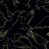 Vector Sky bird seagull isolated Black and white engraved ink art Seamless background pattern