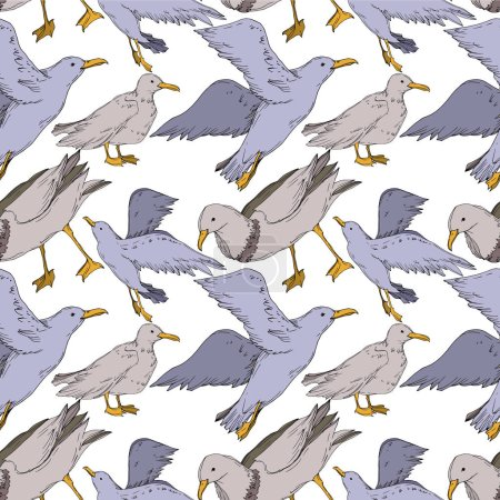 Illustration for Vector Sky bird seagull isolated. Wild freedom, bird with a flying wings. Black and white engraved ink art. Seamless background pattern. Fabric wallpaper print texture. - Royalty Free Image