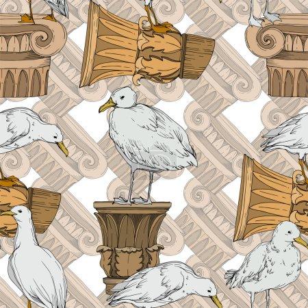 Illustration pour Vector Oiseau céleste mouette dans une faune isolée. Liberté sauvage, oiseau aux ailes volantes. Encre gravée en noir et blanc. Modèle de fond sans couture. Texture d'impression papier peint tissu . - image libre de droit
